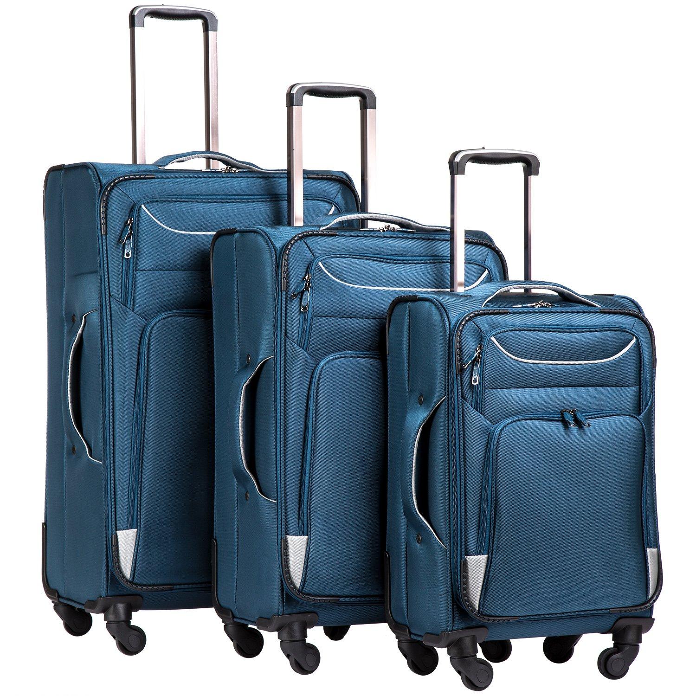 Coolife Luggage 3 Piece Set Suitcase Spinner Softshell lightweight (blue+sliver)