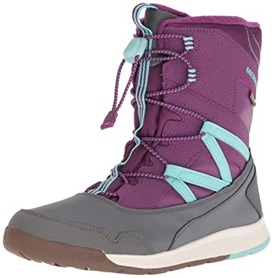 9af54f5654334 Merrell Girls' Snow Crush WTRPF Boot, Purple/Turquoise, 1 Medium US Little