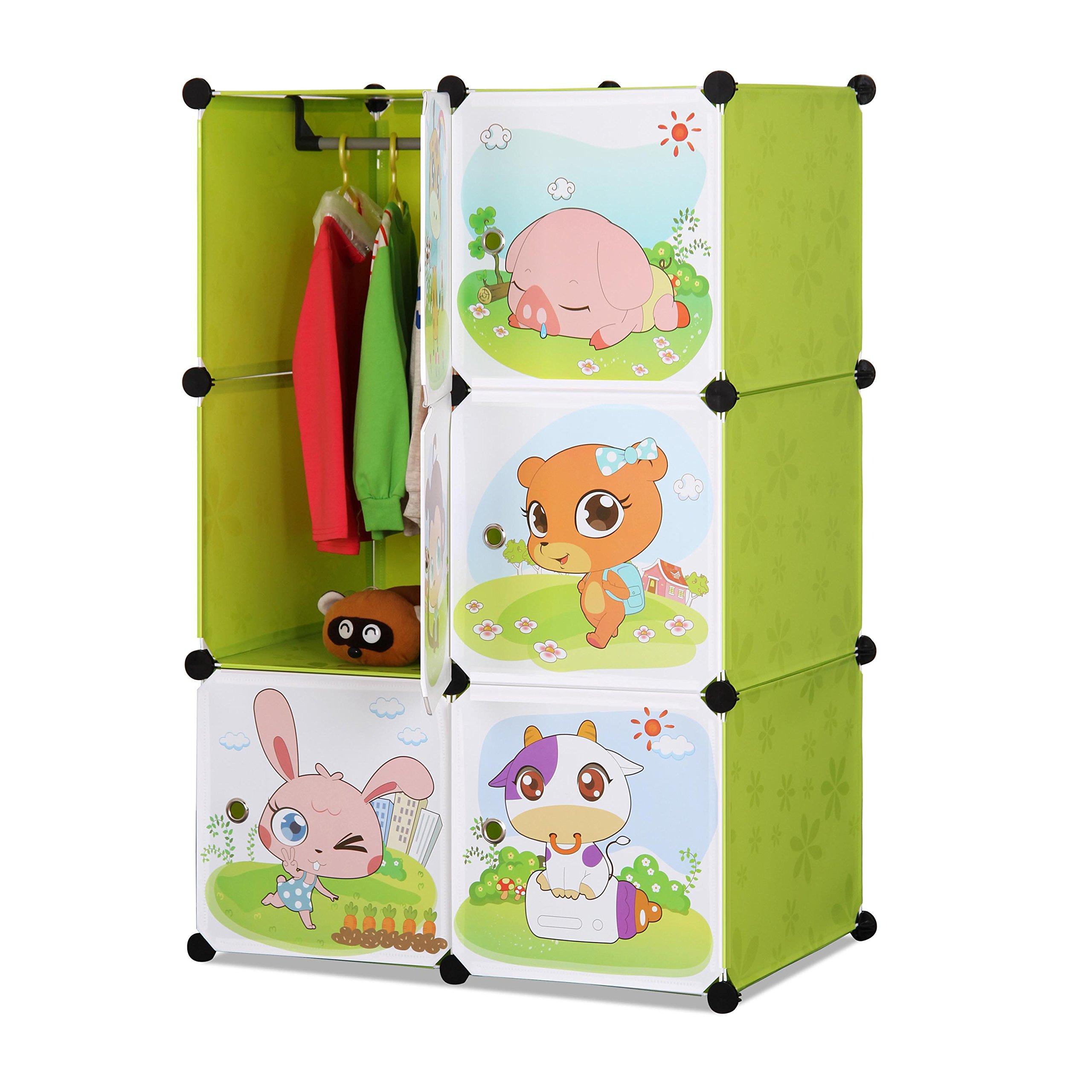 ALEKO SCAB04GR Whimsical Children's 6 Cube Interlocking Multipurpose Animal Themed Storage Organizer with Garment Rack in Green