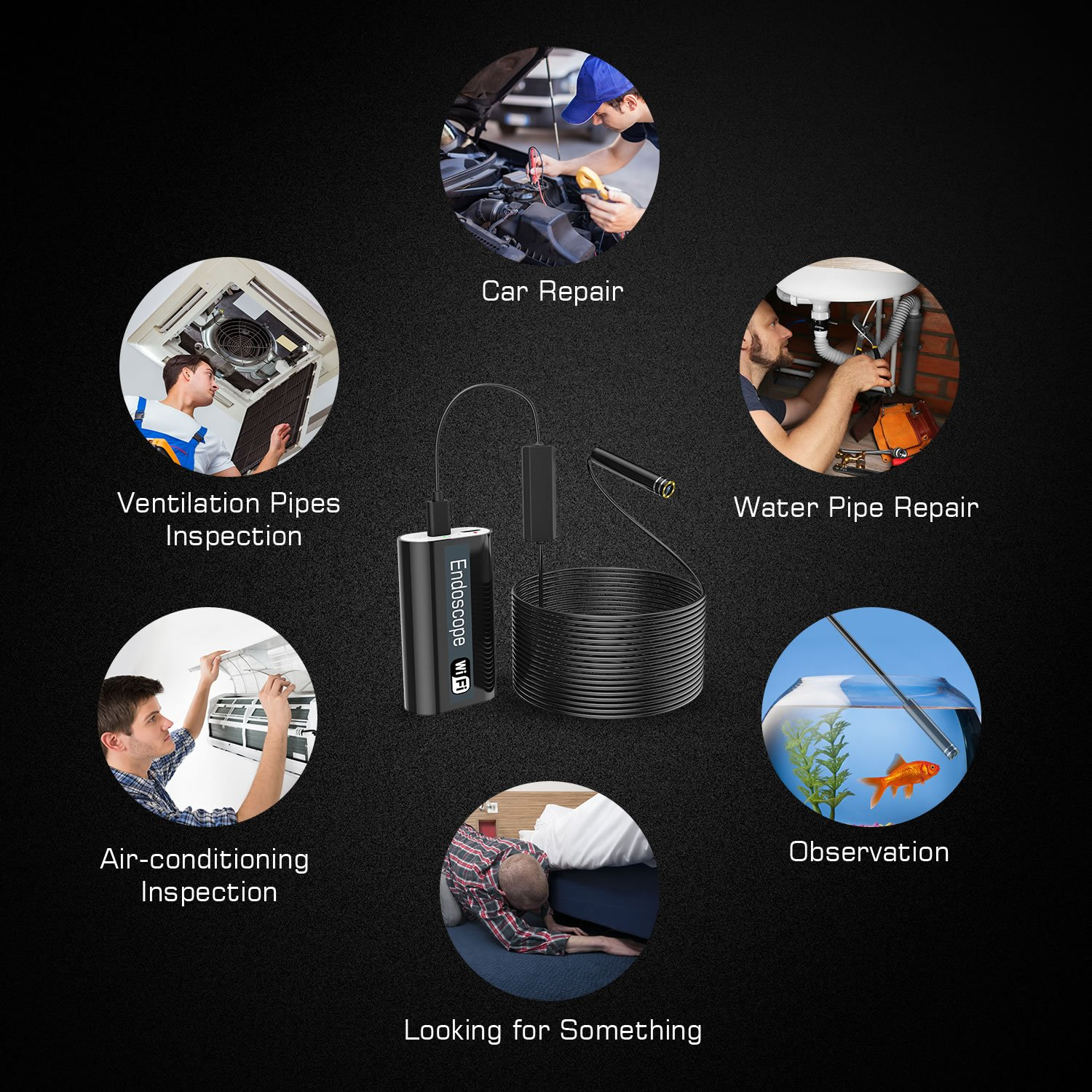 5M Inspection Camera Endoscope USB Borescope Snake Camera Wireless WiFi Waterproof with 24/¡/± Flexible Grabber Pick-up Tool 4 Finger Claw Retriever Snake 720P HD 2.0 MP for Android,IOS,iPhone