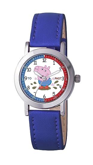 Peppa Pig PP008 - Reloj de cuarzo para niño, correa de poliuretano color azul: Amazon.es: Relojes