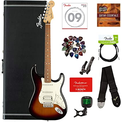 Fender Player Stratocaster HSS, Pau Ferro - 3-Color Sunburst Bundle with  Hard Case, Cable, Tuner, Strap, Strings, Picks, Capo, Fender Play Online