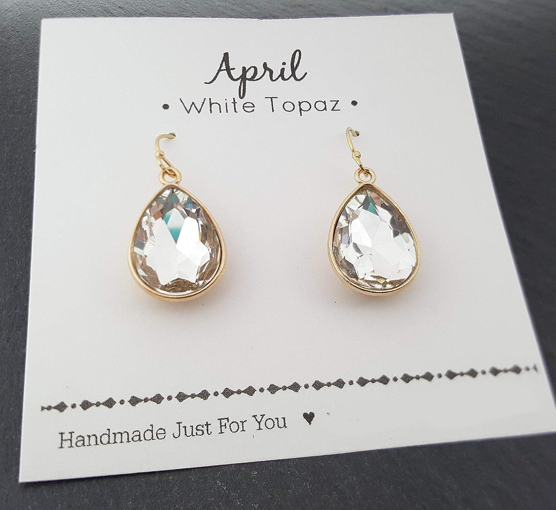 3e38460a2 Amazon.com: April Birthstone Earrings - 14k Gold Filled Rhinestone Crystal Teardrop  Earrings - Gift for Her: Handmade