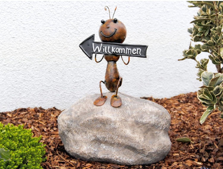 Hormiga con cartel de bienvenida Figura decorativa 40 cm de metal en efecto oxidado.: Amazon.es: Jardín