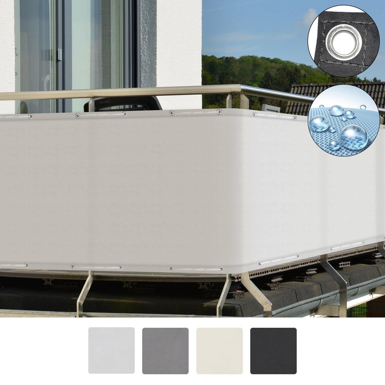 Sol Royal SolVision Protección visual PB2 PES pantalla opaca 300x90 cm crema balcón privacidad con ojales cuerdas