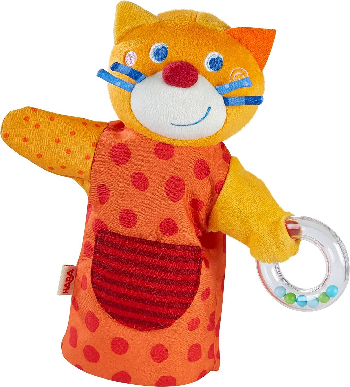 Spielpuppe aus weichen Materialien mit Rasselring f/ür akustische Effekte HABA 304928 Spielzeug ab 18 Monaten Klang-Handpuppe HABA-Musikant Katze