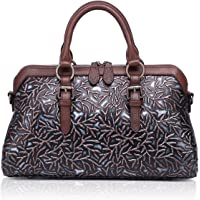 APHISON 女士真皮手提包,大容量手提包压花设计肩包 适用于女士 81084
