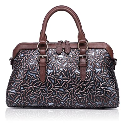 APHISON Women Genuine Leather Handbag Large Capacity Tote Bags Embossed  Design Shoulder Bag for Ladies 81084 617a6ba4b57e2