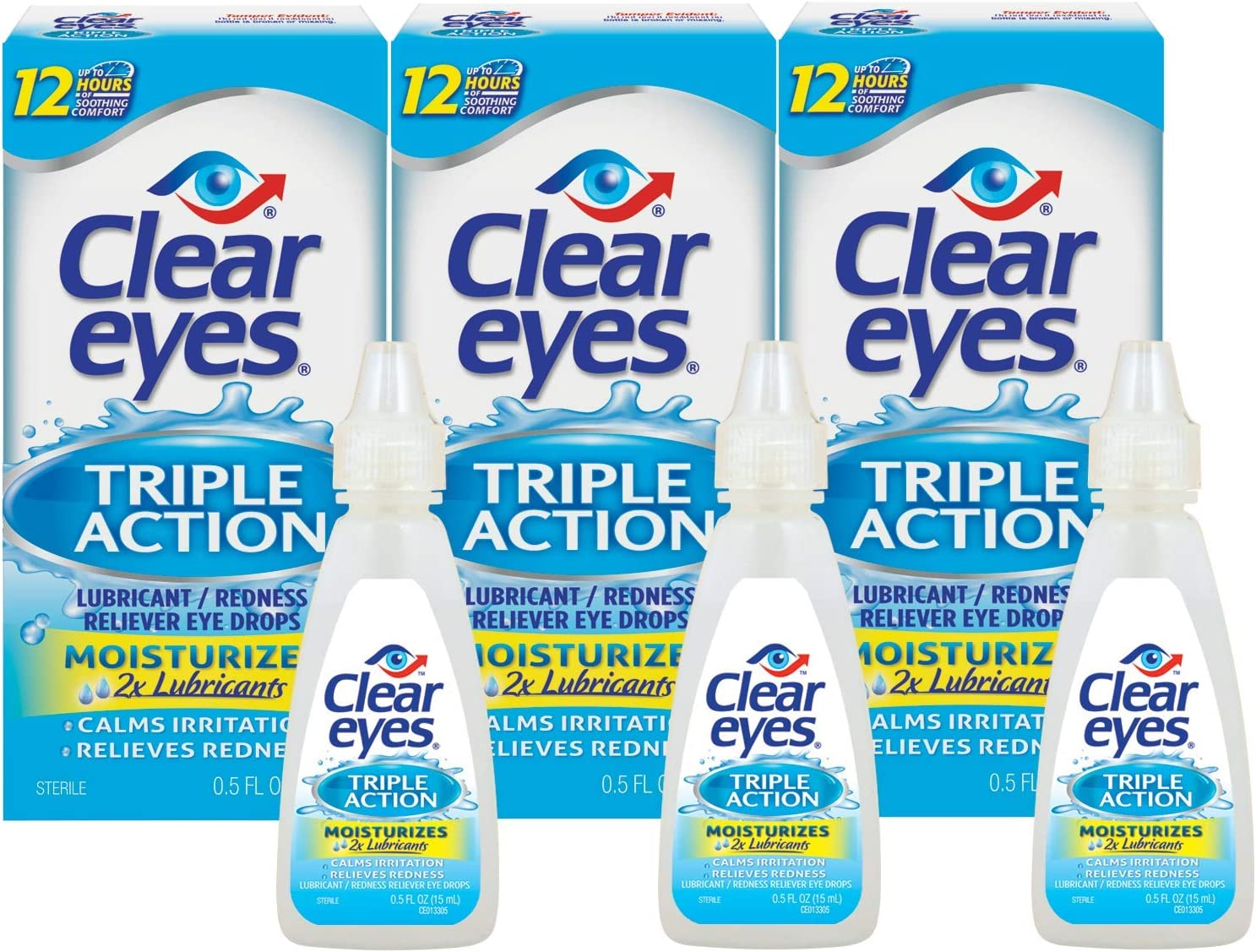 Clear Eyes | Triple Action Lubricant/Redness Relief Eye Drops | 0.5 FL OZ | Pack of 3