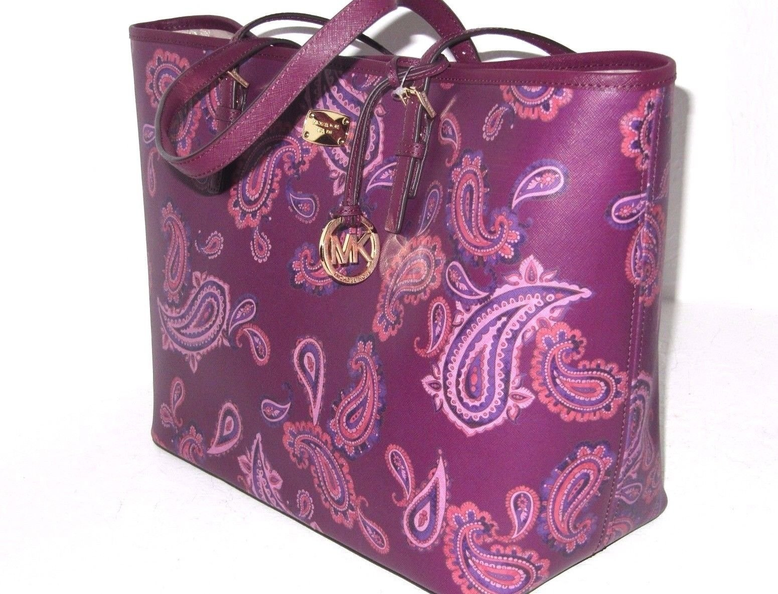 Michael Kors Women's Jet Set Travel Large Leather Carry All Tote Handbag (Plum) by Michael Kors
