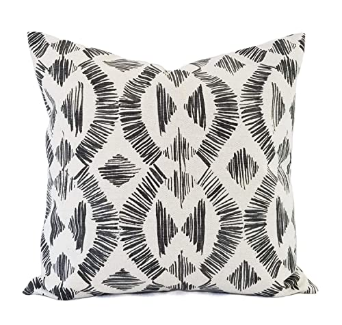 Decorative Pillow Case 16 x 16 Inch 18 x 18 Inch 20 x 20 Inch Throw Pillow Charcoal Pillow Covers Dark Grey and Flax Geometric Pillow Cover Custom Pillow Sham
