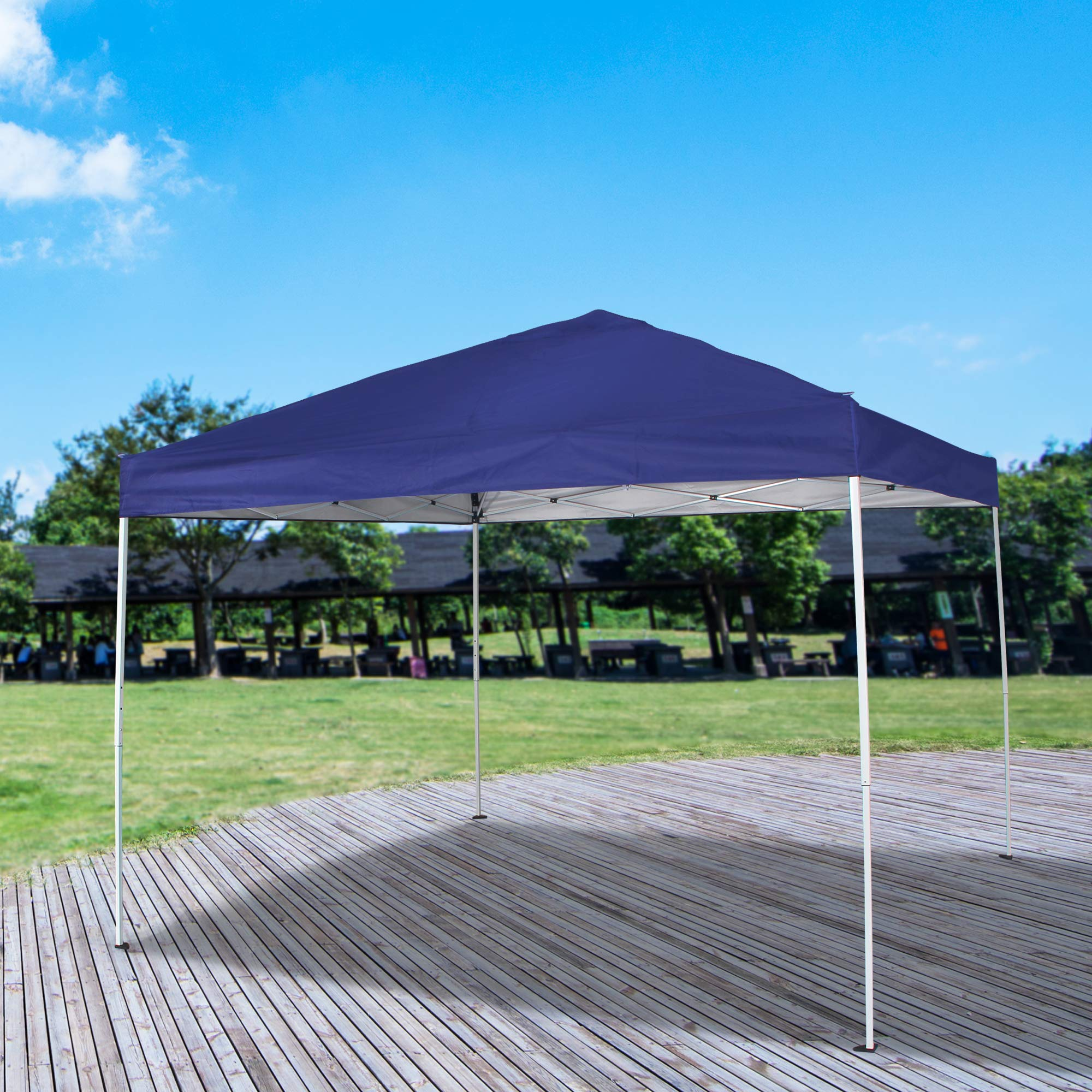 Homevibes 10' x 10' Pop up Canopy Tent Ez up Portable UV Coated Outdoor Garden Commercial Instant Tent Shade Folding Straight Leg for Parties Easy Set up with Carry Bag, Blue