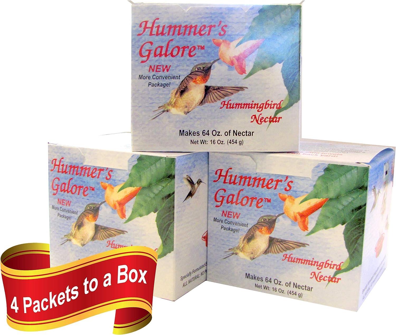 Hummers Galore, Hummingbird Food, 192 oz, All Natural Hummingbird Nectar for Healthy Hummingbirds, 3 Boxes Make 192 oz