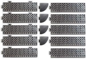 VinTek Beveled Edge and Corner Pieces to fit ONLY VinTek VinTile Modular Interlocking Cushion Floor Tiles (10 Edges + 4 Corners, Gray)