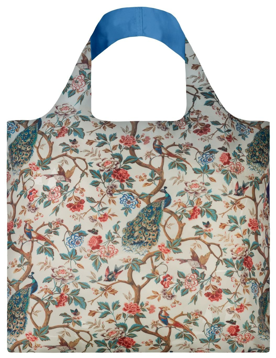 LOQI Reusable Tote Bag, Peacock with Peonies, Multi-Colored Print, International Carry-on WH.PP