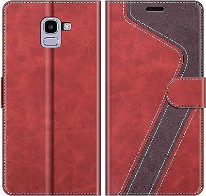 MOBESV Funda para Samsung Galaxy J6 2018, Funda Libro Samsung J6 2018, Funda Móvil Samsung Galaxy J6 2018 Magnético Carcasa para Samsung Galaxy J6 2018 Funda con Tapa, Elegante Rojo: Amazon.es: Electrónica