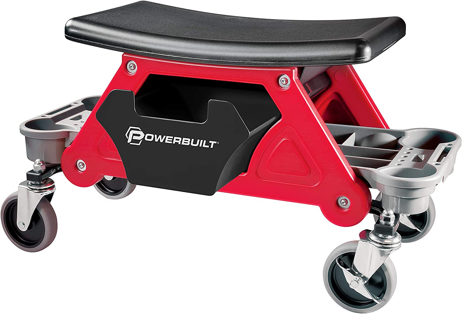 Powerbuilt Heavy Duty Roller Mechanics Seat and Brake Stool with 4-in. Rubber Swivel Casters Roll Over Anything, Big Seating Platform, Slide Out Tool Trays and Drawer 300 lb. Capacity – 240036: Automotive