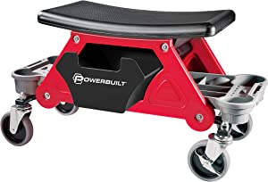 Powerbuilt Heavy Duty Roller Mechanics Seat and Brake Stool with 4-in. Rubber Swivel Casters Roll Over Anything, Big Seating Platform, Slide Out Tool Trays and Drawer 300 lb. Capacity – 240036