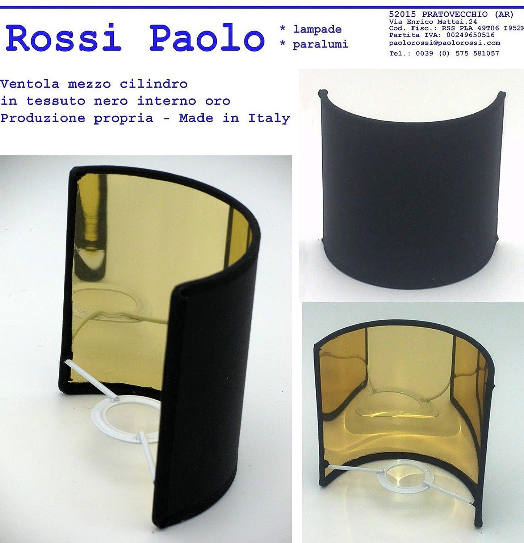 nero oro, 10 Paralume vela ventola mezza tonda in tessuto con interno oro made in Italy produzione propria