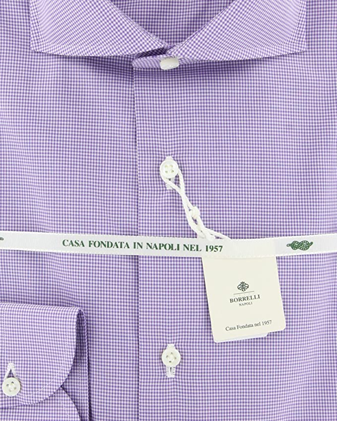 New Luigi Borrelli Purple Micro-Check Extra Slim Shirt