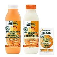 Garnier Haircare Fructis Damage Repairing Treat Shampoo and Conditioner, 98 Percent Naturally Derived Ingredients, Papaya, Nourish Dry Hair, 11.8 Oz Ea, W/Mask Sample, (Packaging May Vary)
