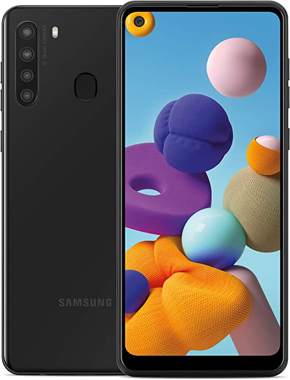 """Amazon.com: Samsung Galaxy A21 Factory Unlocked Android Cell Phone, US Version Smartphone, 32GB Storage, Long-Lasting Battery, 6.5"""" Infinity Display, Quad Camera, Black"""