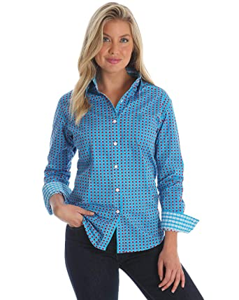 32a2c505d Wrangler Women's George Strait by Blue Dot Print Long Sleeve Western Shirt  - Lgs7309 at Amazon Women's Clothing store: