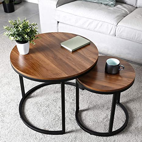 Amzdeal Round Coffee Table Set Of 2 Coffee Tables Side Tables For Living Room Bedroom Sturdy