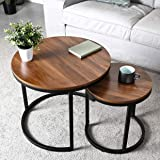 amzdeal Coffee Table for Living Room, Set of 2 Nesting Side Coffee Tables, Stable and Easy Assembly, Chipboard Table Top…