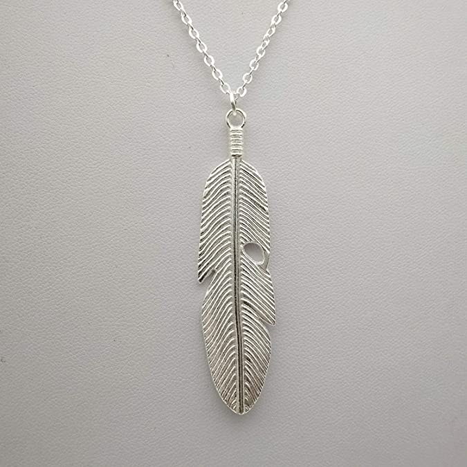 MYANAIL Bohemian Silver Feather Tassel Sweater Chain Necklace Gold Feather Leaf Owl Long Necklace for Woman