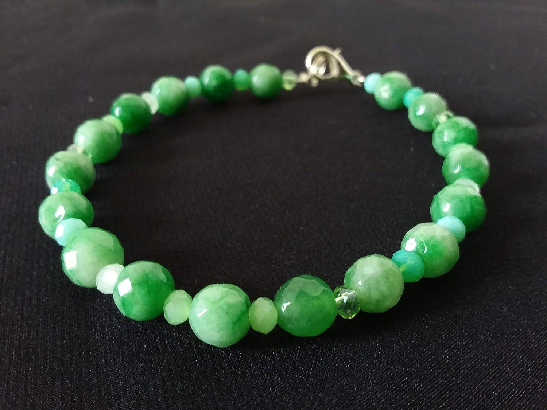 Pulsera verde claro - piedras semipreciosas - ágata - cristales - idea de regalo para mujer - hecho a mano