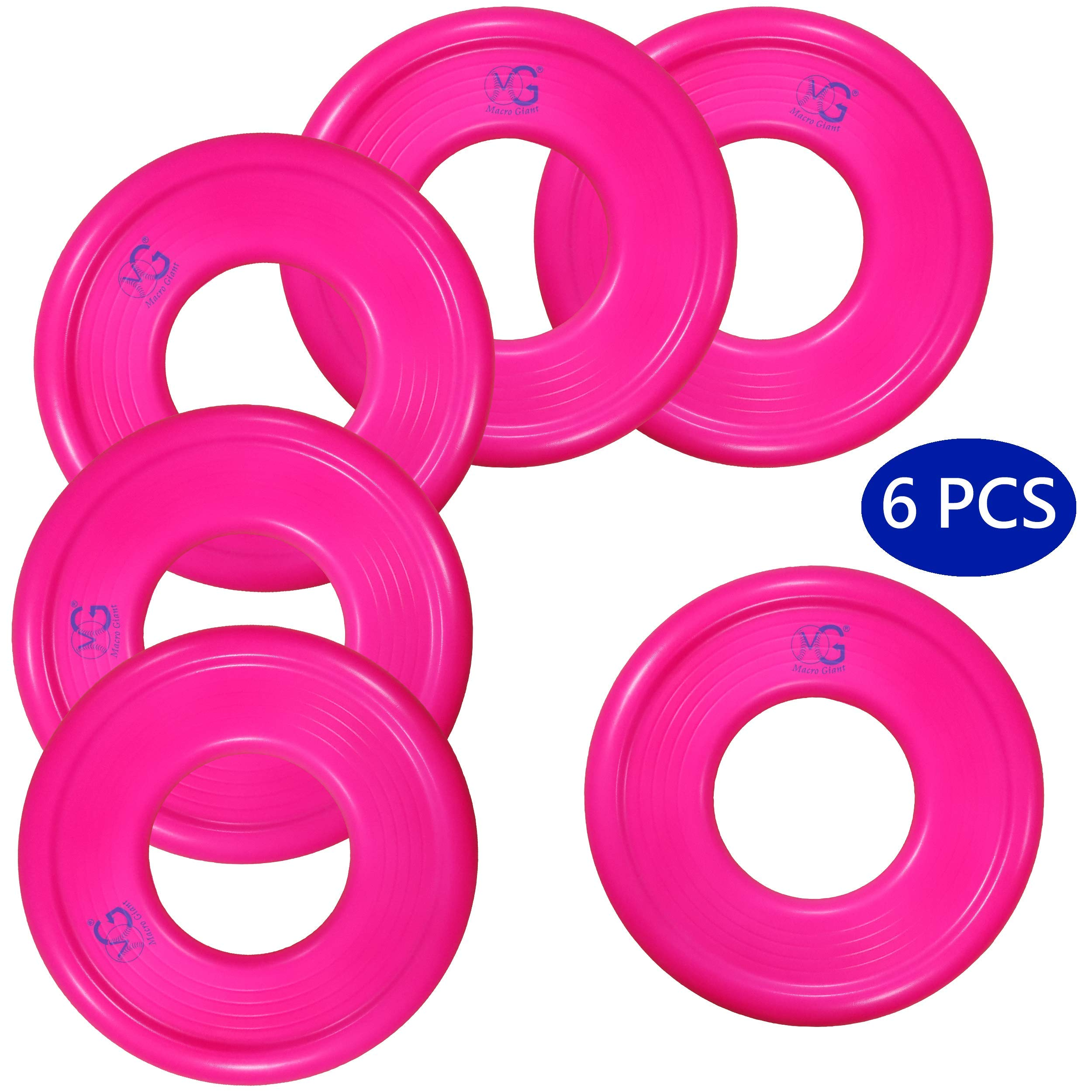 Macro Giant 9 Inch Soft Foam Frisbee Flying Discs, Set of 6, Neon Red, Playground, Kid Sports Toy, Ring Toss Game, Parenting Activity, Outdoor Indoor, Camp Game