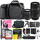 Canon EOS 80D DSLR Camera Advanced Photo and Travel Bundle + Canon EF-S 18-55mm f3.5-5.6 IS II + Canon EF-S 55-250mm f4-5.6 IS Lenses + Camera Works Starter Kit
