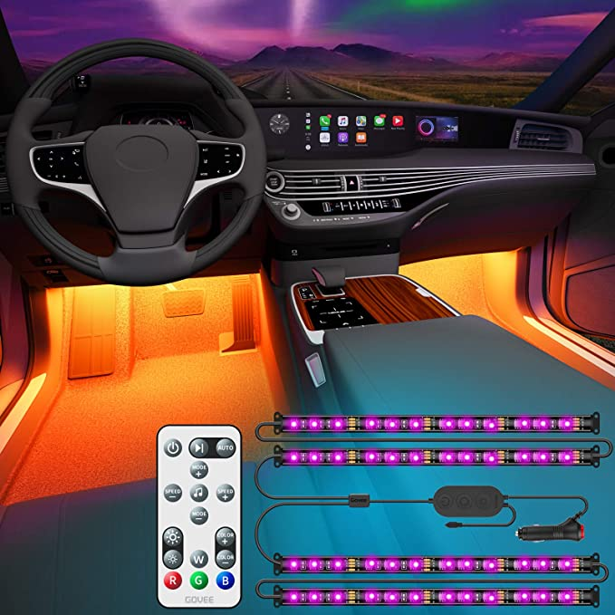 Amazon.com: Govee - Luces de interior para coche con mando a distancia y caja de control, diseño 2 en 1, luces LED para interior de coche con 32 colores, 48 ledes, kit de iluminación de sincronización de música con cables de gran longitud para varios coches, CC 12 V: Automotive