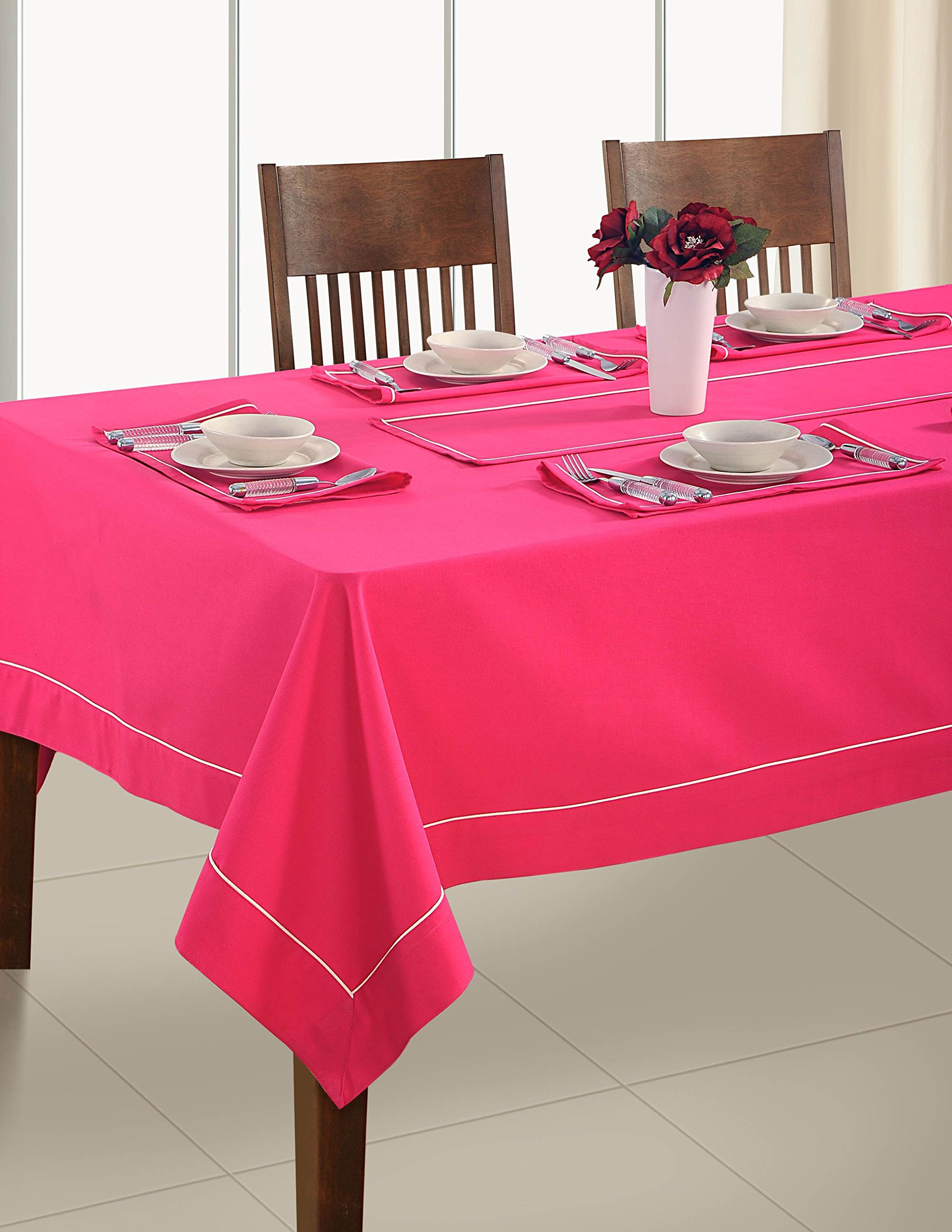 Handmade Fuschia Pink Table Linen Set for 6 Seat Table: Includes Rectangle Tablecloth, 6 Napkins & Table Runner - Premium Cotton Fabric 60 X 90 Inch