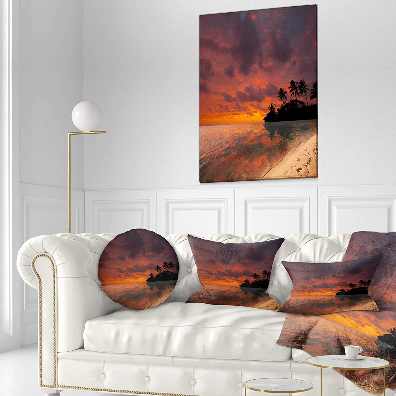 20 Round Sofa Designart CU9755-20-20-C Avenue of City Park at Night Cityscape Photography Throw Cushion Pillow Cover for Living Room Cushion Cover Printed on Both Side Pillow Insert