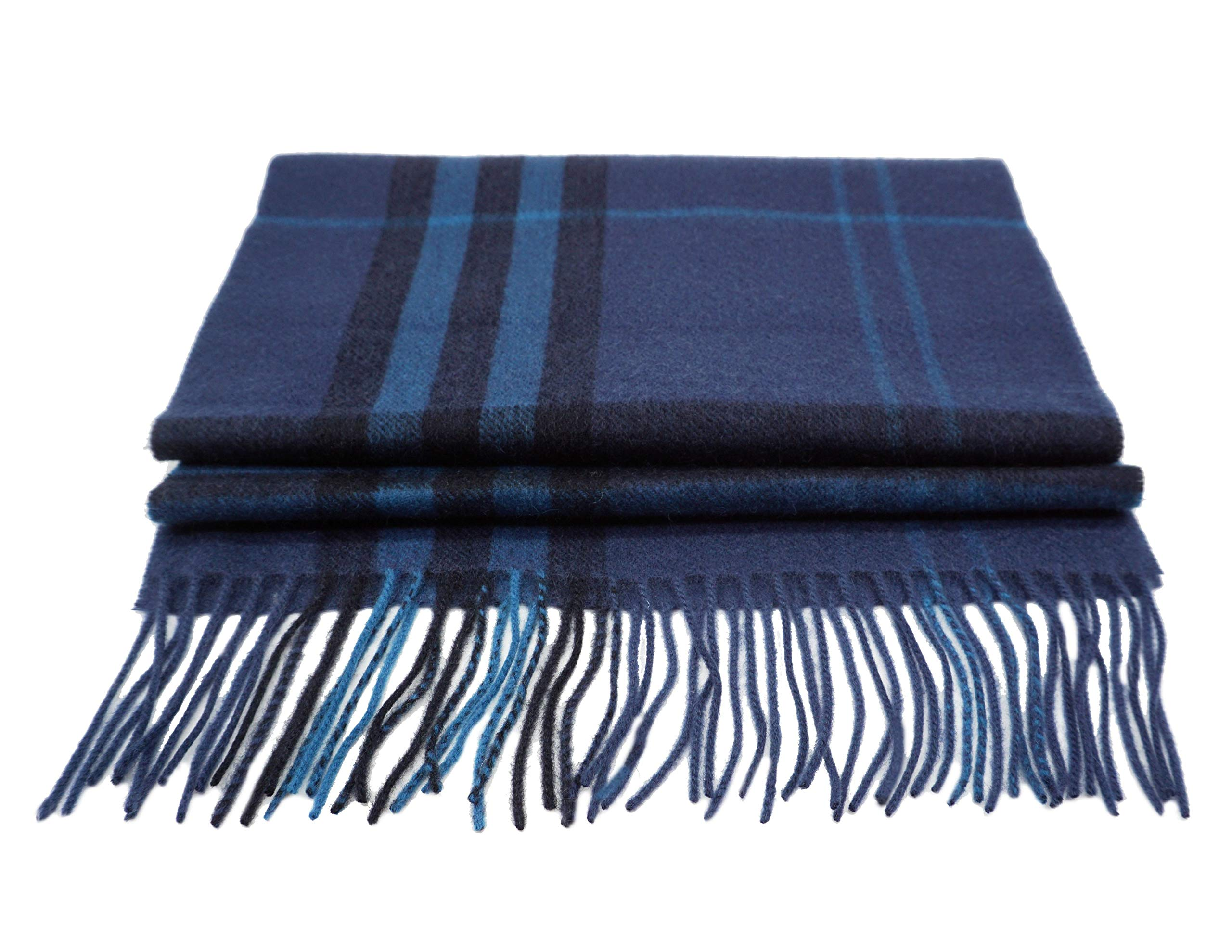 State Cashmere Unisex 100% Cashmere Plaid Scarf with Fringe 12'' x 65'' + 3'' x 2 by State Cashmere