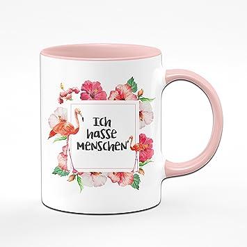 Flamingo Tasse   Ich Hasse Menschen   Kaffeetasse   Lustige Tassen    Witzige Tassen   Rosa