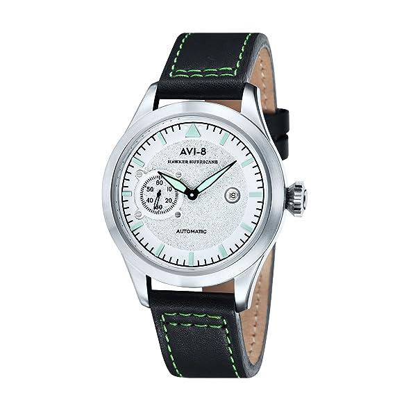 Hawker Hurricane reloj de piel Para Hombre - Plata AV-4016 - 01: Amazon.es: Relojes