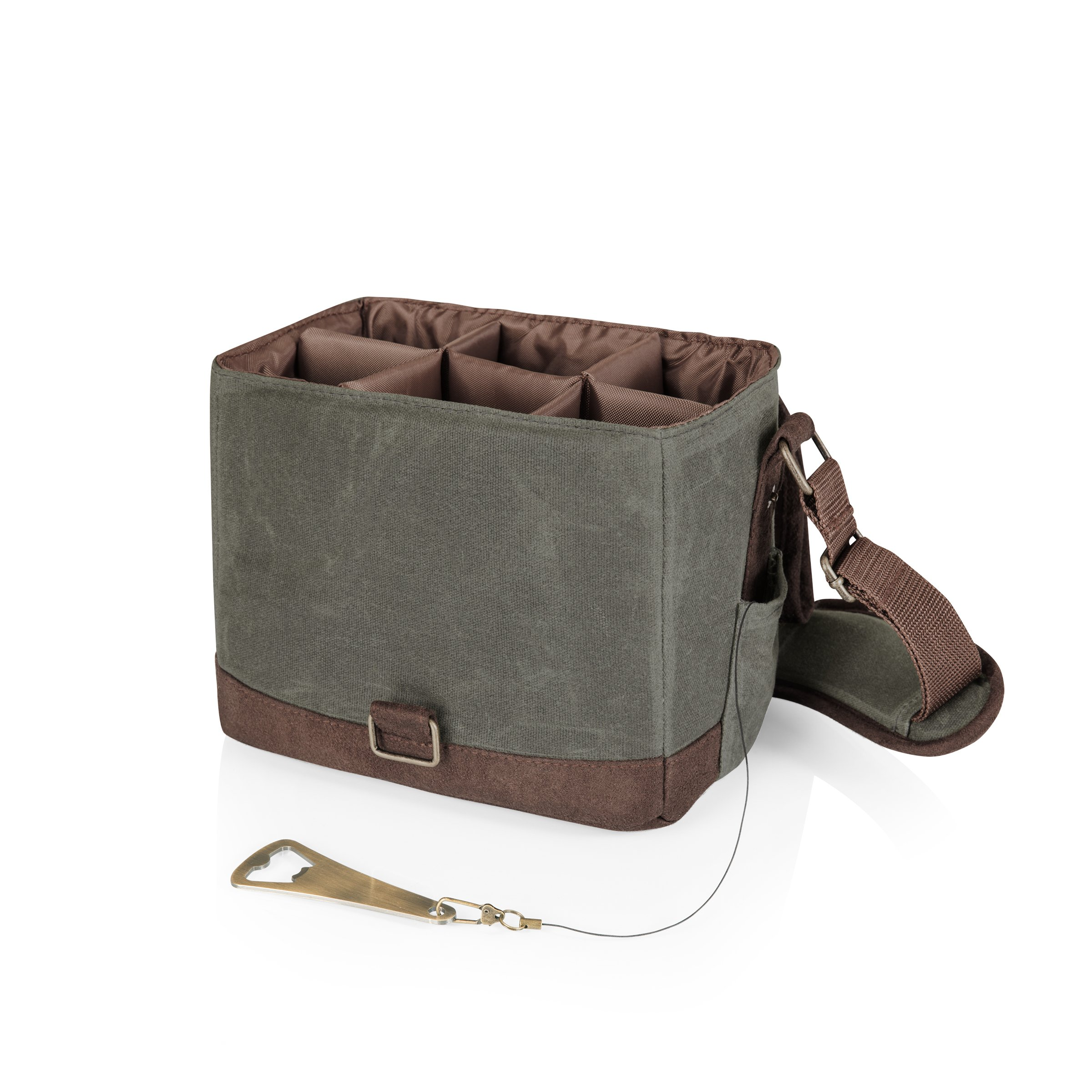 LEGACY - a Picnic Time Brand 6-Bottle Beer Caddy with Integrated Bottle Opener, Khaki Green/Brown by LEGACY - a Picnic Time Brand (Image #3)