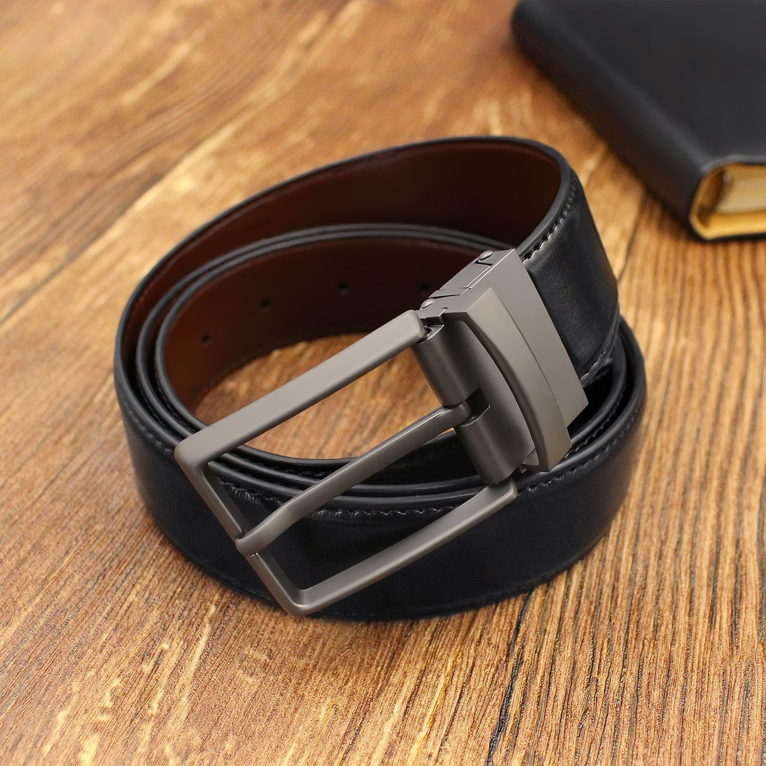 Belts for Men Genuine Leather Dress Belt Reversible with 1.3 Wide Rotated Buckle