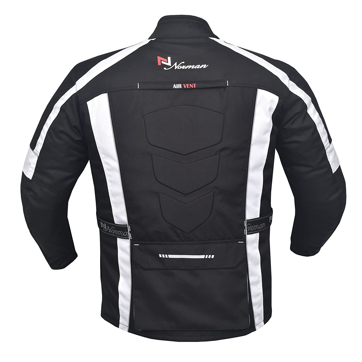 NORMAN Grey//Black Mens Motorcycle Motorbike Jacket Waterproof Textile with CE Armours