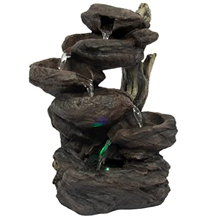 Best Choice Products Home Indoor 6 Tier Tabletop Fountain Waterfall With  Multicolor LED Lights