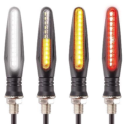 Lot de 4 clignotants pour moto 12/LED de 1/W lumi/ère clignotante Couleur ambr/ée jaune orange