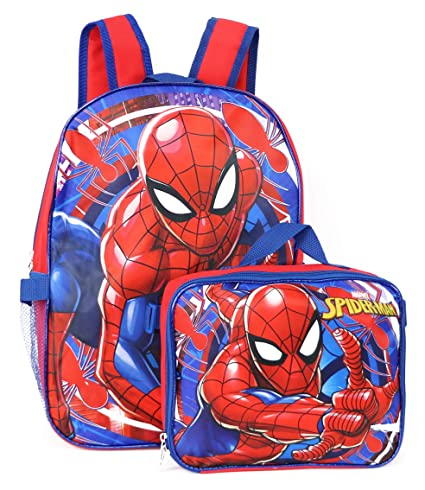"""Spider-Man Boys 16/"""" Backpack w//Detachable Non-Insulated Lunch Bag"""
