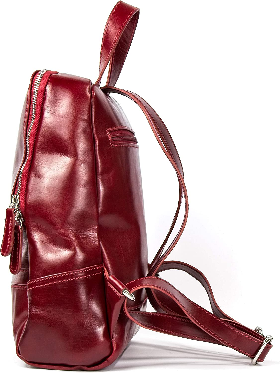 Woman Backpack in Genuine Leather, Casual Daypack, Leather, Style and Elegance of a Handicraft Made in Italy (), Light Brown (Brown) - b_8055002606769 Red