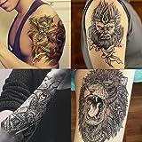 Dalin 4 Sheets Temporary Tattoos, The Monkey King, Lion, Qilin