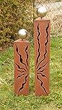 Rostsäulen Gartendeko Dreiecke Säulen mit Muster 80cm + 60cm*
