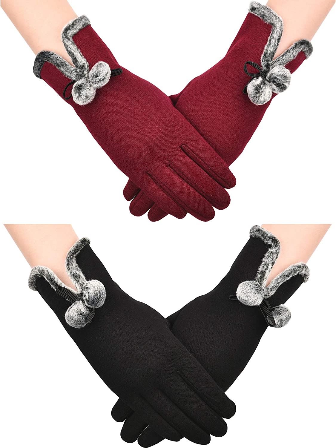 Tatuo 2 Pairs Winter Warm Gloves Touch Screen Gloves Windproof Gloves for Women and Girls Costume Accessory, Black and Wine Red