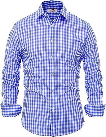 PaulJones Camisa 100% ALGODÓN para Hombre Camisa a Cuadros de Manga Larga a Cuadros pequeños Botones Slim fit para Hombre: Amazon.es: Ropa y accesorios